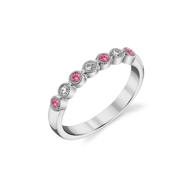 Stanton Color Pink Tourmaline & Diamond Anniversary Band