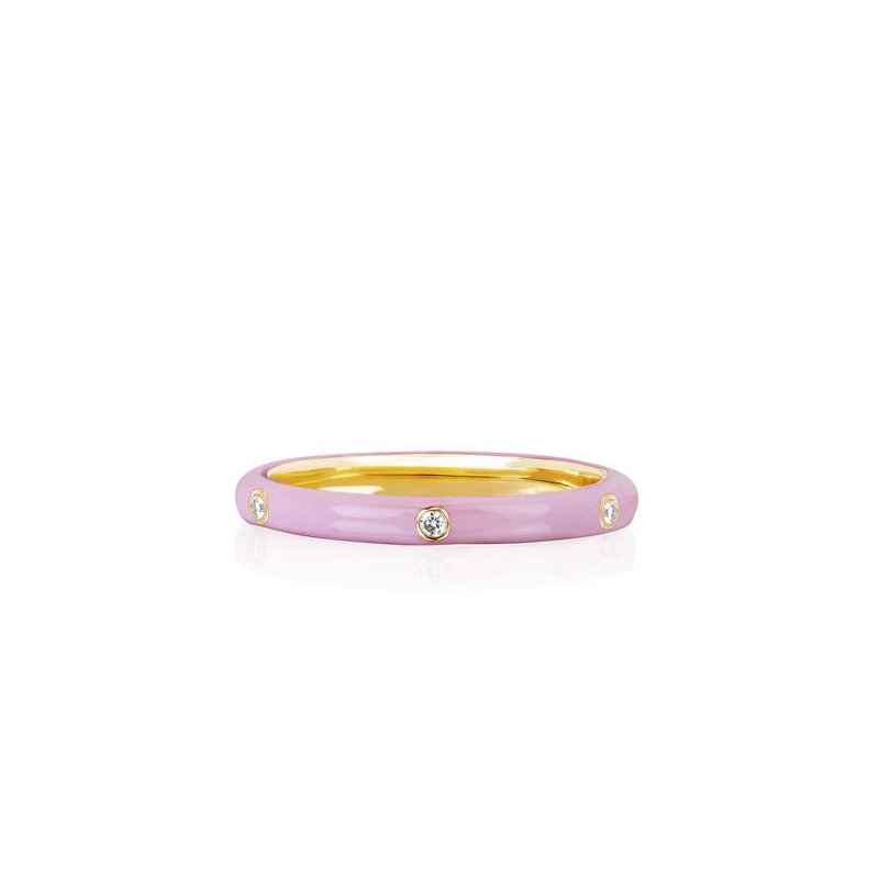 EF Collection 3 Diamond Light Pink Enamel Stack Ring