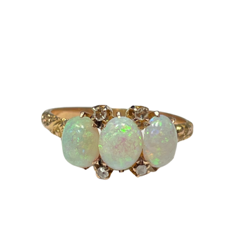 Three Opal & Diamond Ring