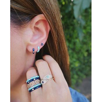 Navy Enamel Huggie Diamond Earrings