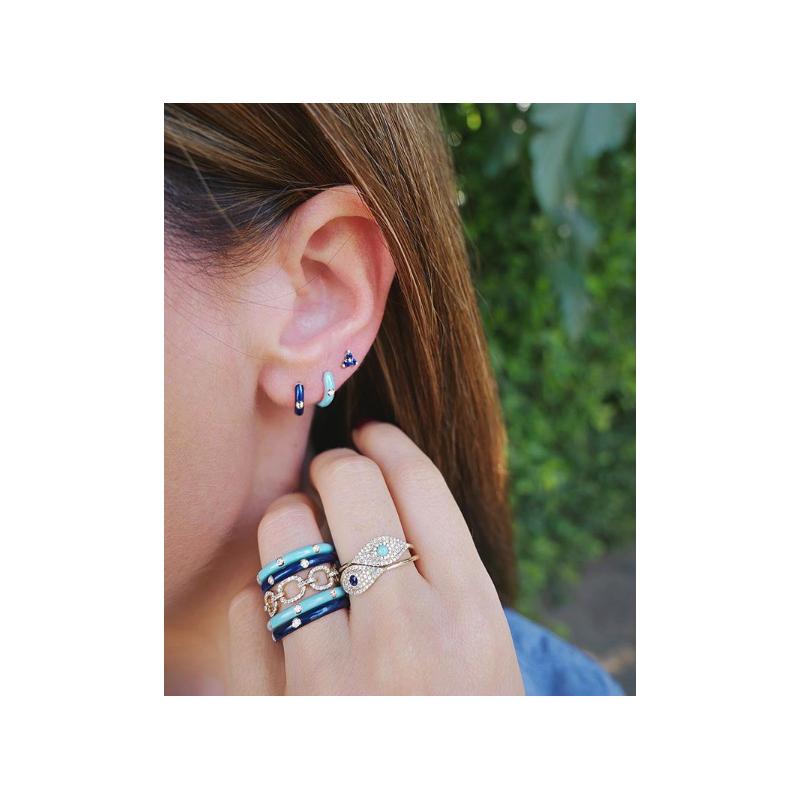 EF Collection Navy Enamel Huggie Diamond Earrings