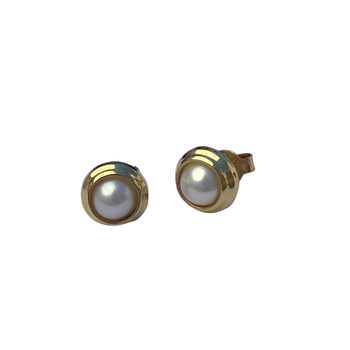Gold Bezel Pearl Earrings