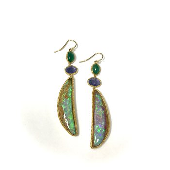 One of a Kind Opal, Tanzanite & Emerald Earrings