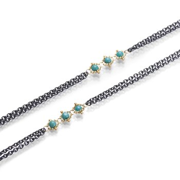 Triple Textile Turquoise Station Necklace