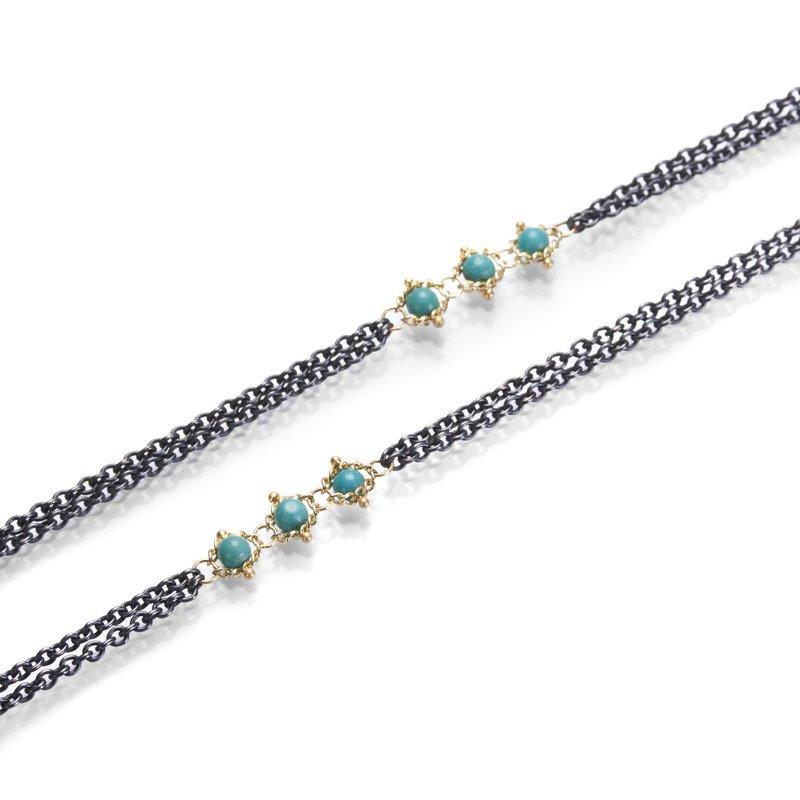 Amali Triple Textile Turquoise Station Necklace