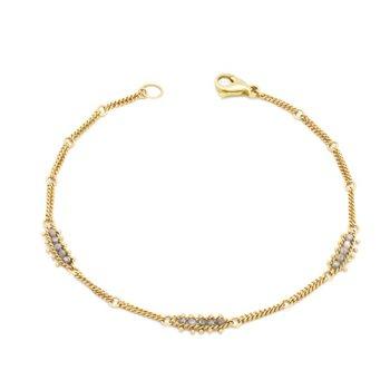 Textile Station Bracelet in Silver Diamond