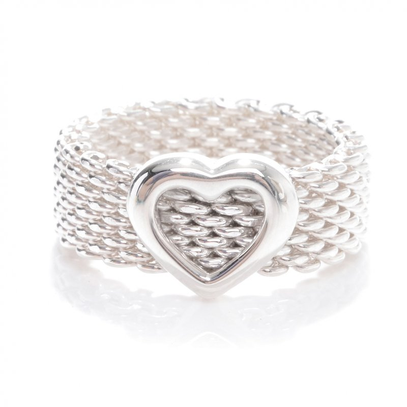 Antique, Estate & Consignment Tiffany & Co. Stamped Heart Mesh Ring