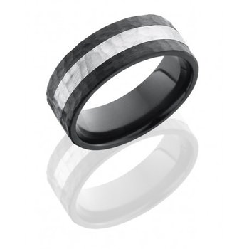 Black Zirconium & Silver Hammered Band
