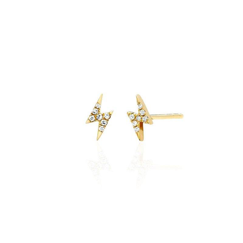 EF Collection Diamond Mini Lightning Bolt Stud Earring