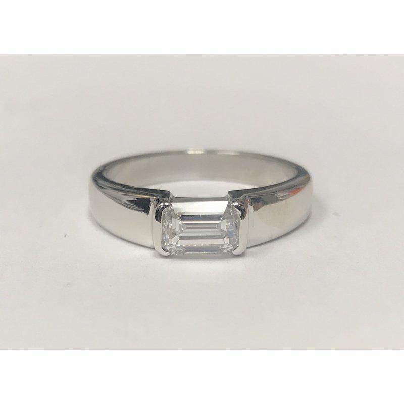 Antique, Estate & Consignment Platinum Half Bezel Emerald Cut Solitaire Ring