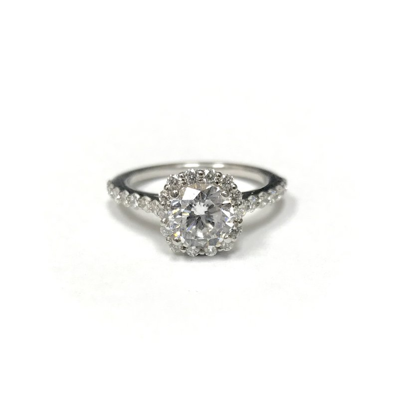 Hurdle's Custom Designs Cushion Halo Diamond Engagement Ring