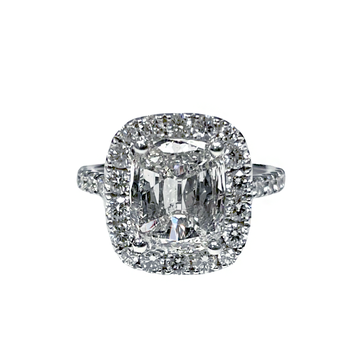 2.02 Carat Cushion Cut Halo Engagement Ring