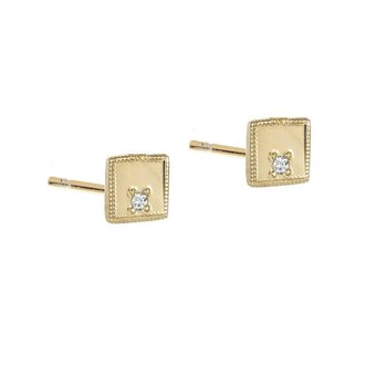 Square Diamond Mirror Stud Earrings