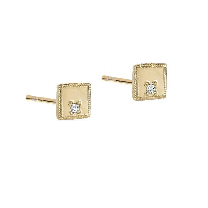 Jennie Kwon Square Diamond Mirror Stud Earrings
