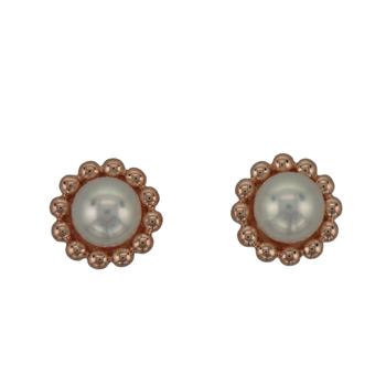 14k Rose Gold Pearl Stud Earrings