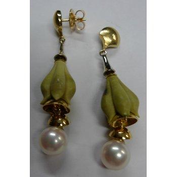 Carved Jasper & Pearl Earrings