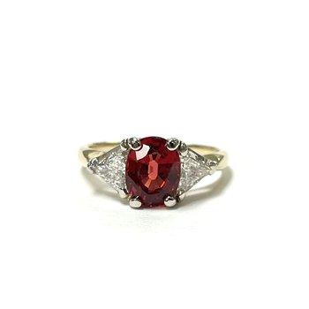 Orange Spinel Three Stone Ring