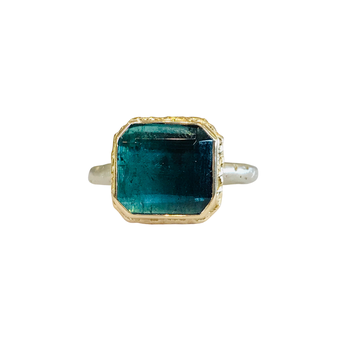 Square Faceted Blue Green Tourmaline Ring