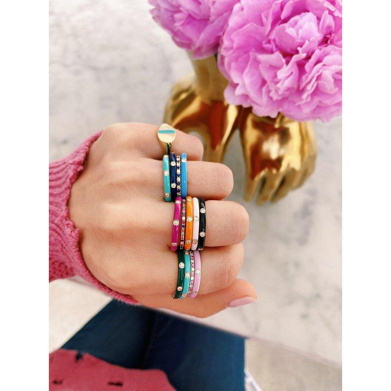 EF Collection 3 Diamond Orange Enamel Stack Ring