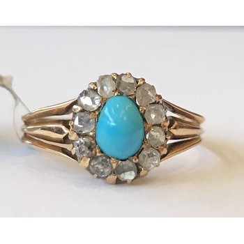 Vintage Turquoise & Rose Cut Diamond Ring