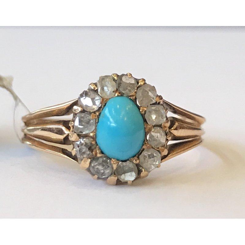 Antique, Estate & Consignment Vintage Turquoise & Rose Cut Diamond Ring