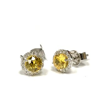 Yellow Sapphire & Diamond Halo Earrings