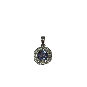 14k White Gold Tanzanite & Diamond Pendant