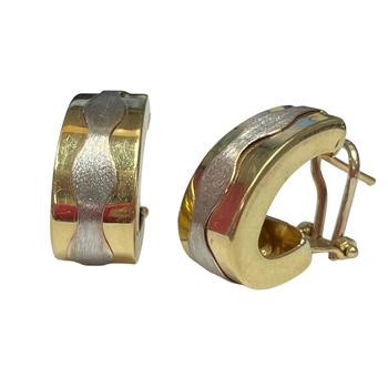 Two Tone Gold Wave Earrings