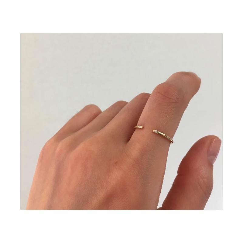 Jennie Kwon White 2 Diamond Cuff Ring