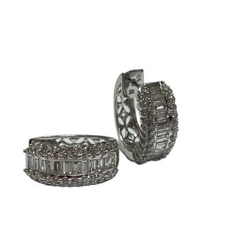 Diamond Hoop Earrings - Baguette & Round