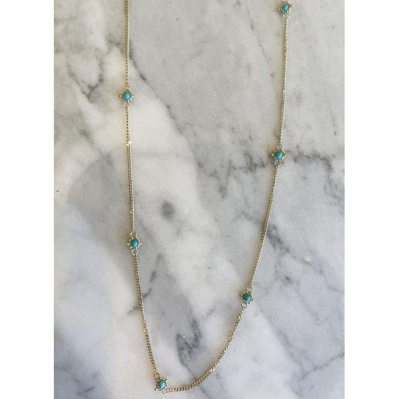 Amali Turquoise Textile Station Necklace