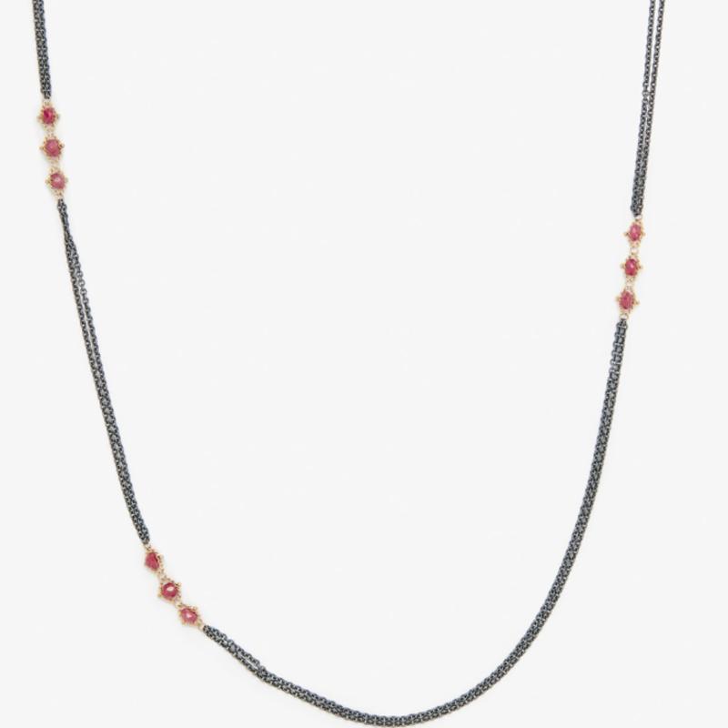 Amali Triple Textile Ruby Station Necklace