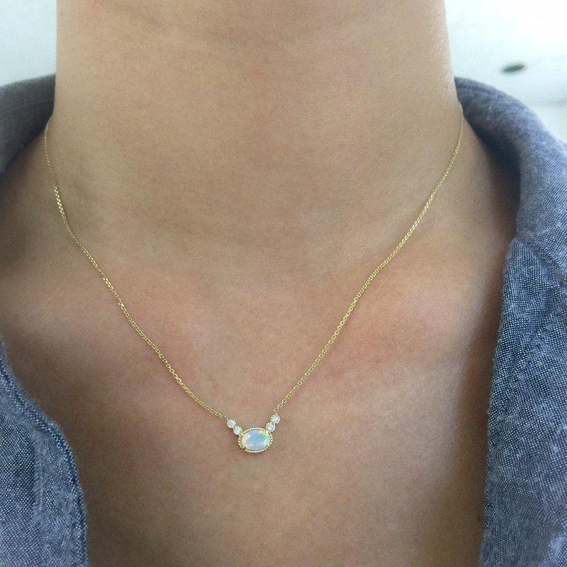 Jennie Kwon Opal Diamond Dew Necklace