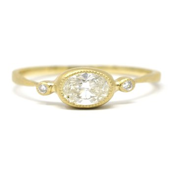 Oval Horizontal Diamond Ring