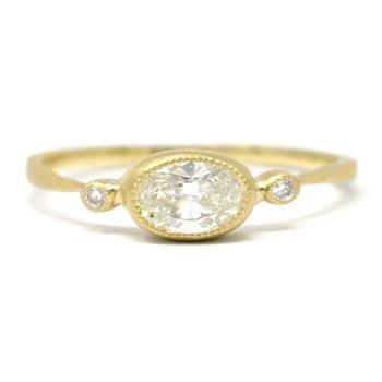 Oval Horizontal Diamond Ring