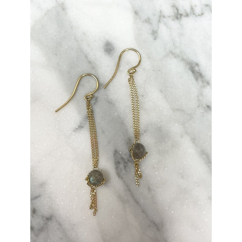 Amali Labradorite Chain Drop Earrings