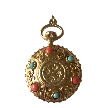 Coral & Turquoise Gold Pendant