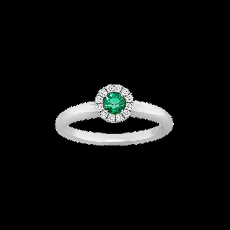 Spark Creations Emerald & Diamond Halo Ring