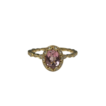 18k yellow gold Morganite & Diamond Ring