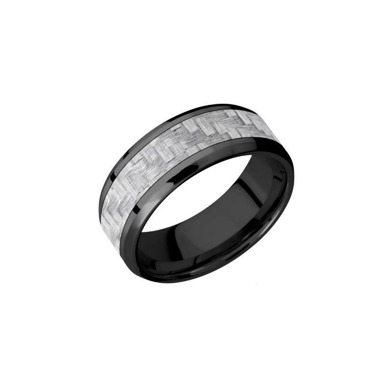 Lashbrook Black Zirconium with Silver Carbon Fiber Inlay Band