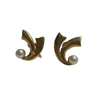 Non-Pierced Gold & Pearl Earrings