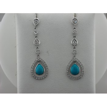 Diamond & Turquoise Drop Earrings