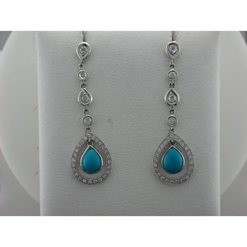 Antique, Estate & Consignment Diamond & Turquoise Drop Earrings
