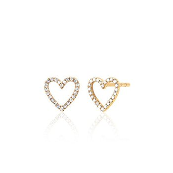 Diamond Open Heart Stud Earring