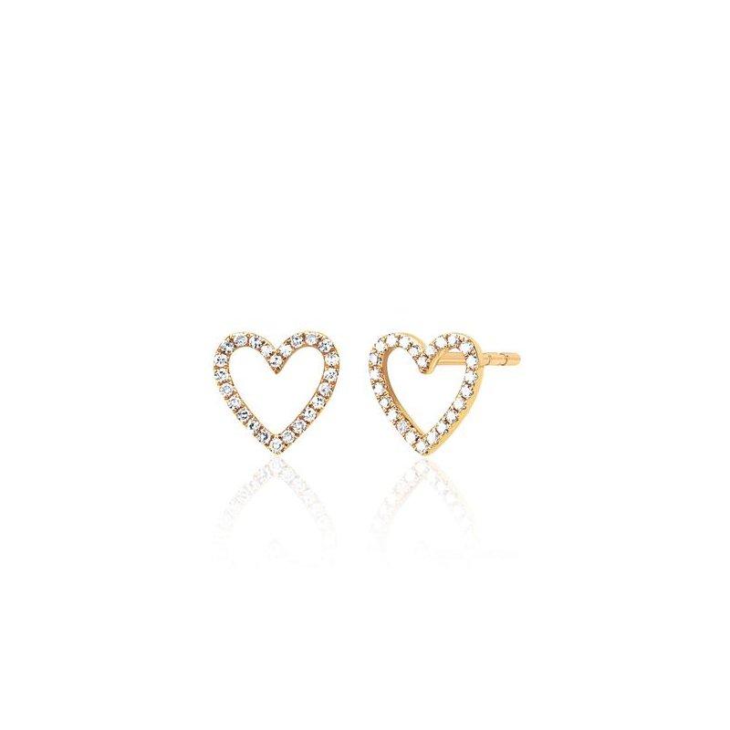 EF Collection Diamond Open Heart Stud Earring