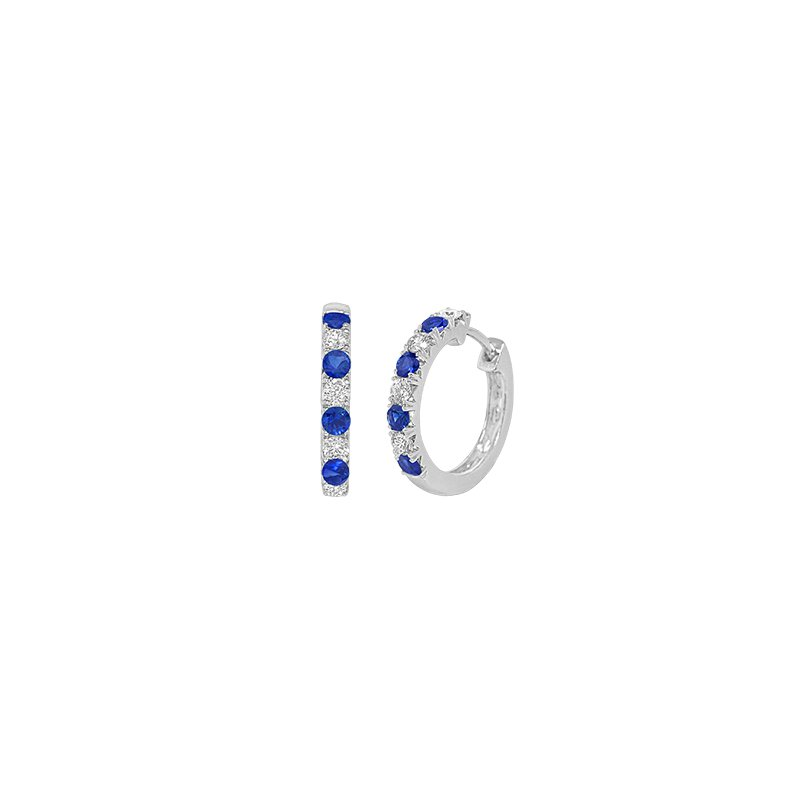 Spark Creations Diamond & Sapphire Hoop Earrings
