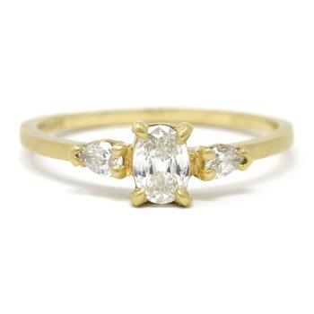 Facet Three Stone Diamond Ring