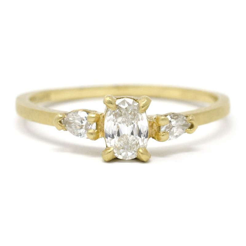 Jennifer Dawes Design Facet Three Stone Diamond Ring