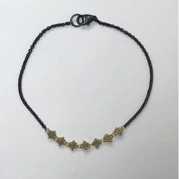 Textile Silver Diamond Station Bracelet