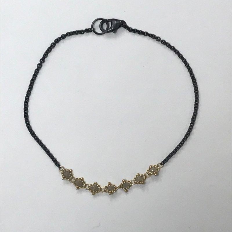 Amali Textile Silver Diamond Station Bracelet